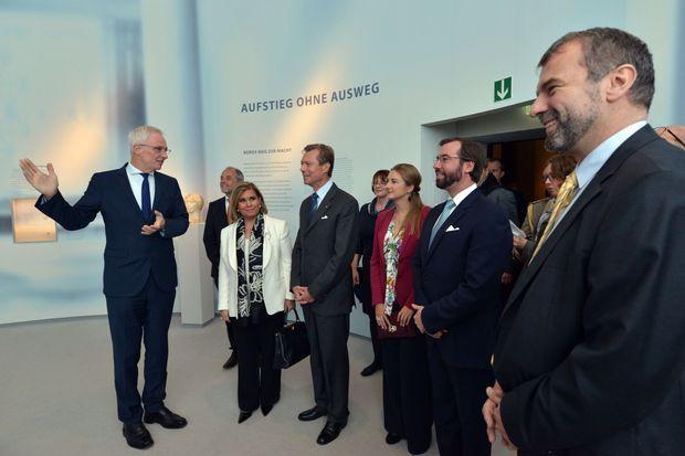 La grande-duchesse Maria Teresa et le grand-duc Henri de Luxembourg, la princesse Stéphanie et le prince Guillaume à Trèves, le 5 octobre 2016