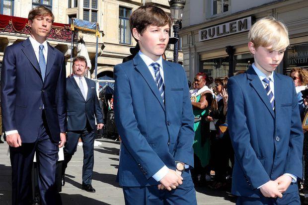 Le prince Louis de Luxembourg et ses deux fils les princes Gabriel et Noah à Luxembourg, le 6 mai 2018