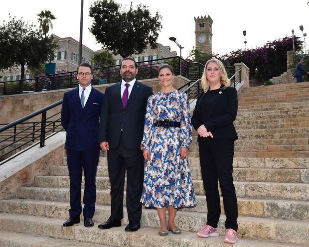 La princesse Victoria de Suède à Beyrouth le 18 octobre 2018 avec le prince consort Daniel et le Premier ministre libanais Saad Hariri