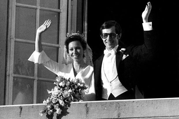 La princesse Christina de Suède et Tord Magnuson le jour de leur mariage, le 15 juin 1974 à Stockholm