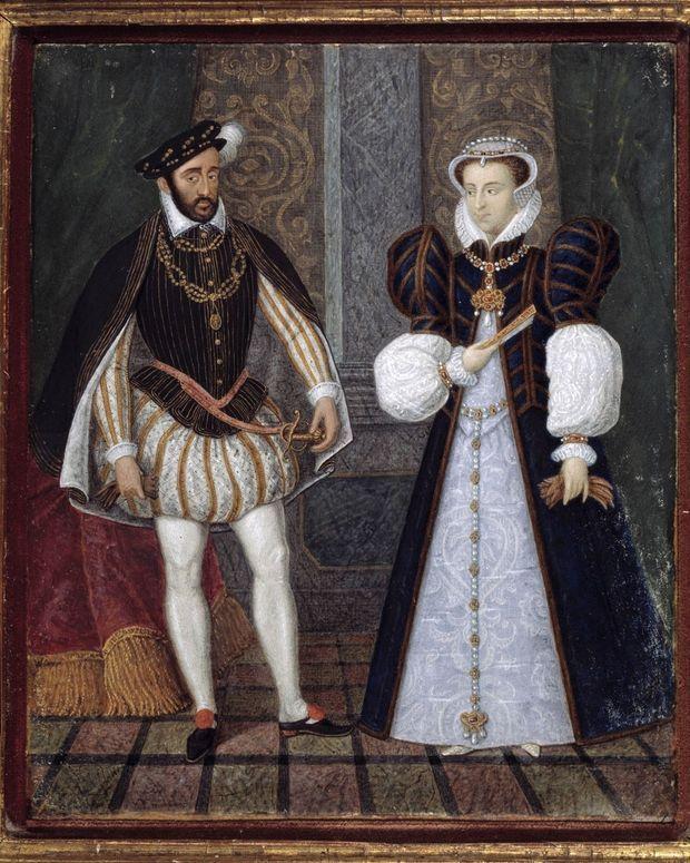 Portrait d'Henri II et Catherine de Médicis. Peinture anonyme francaise, 16eme siecle (musee du château d'Anet)