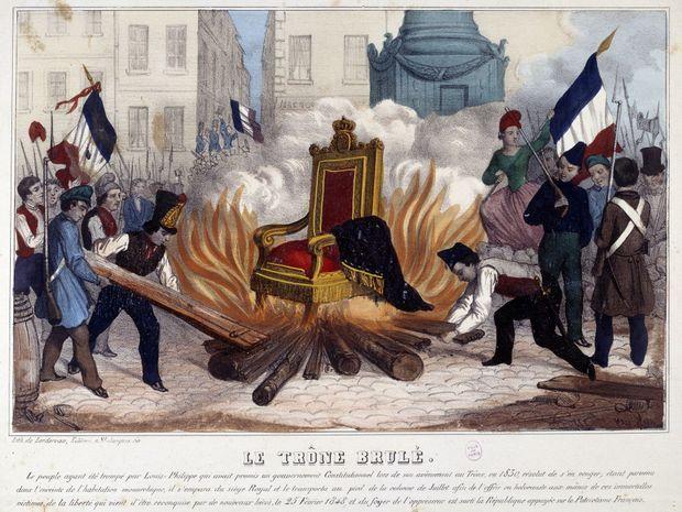 Gravure figurant le trône brûlant place de la Bastille, le 25 février 1848 (Paris, Musée Carnavalet)