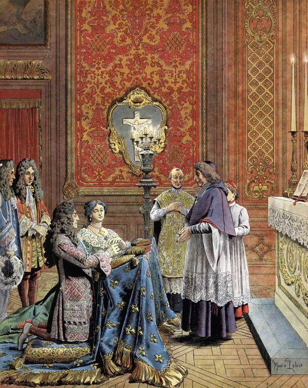 Le mariage secret de Louis XIV et de Madame de Maintenon au château de Versailles. Illustration de Maurice Leloir, 1904