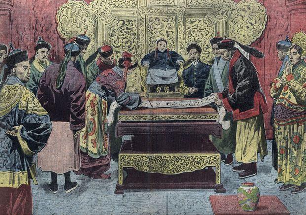 """""""L'abdication de l'empereur Puyi"""", illustration du """"Pèlerin"""" du 25/02/1912 (collection privée)"""