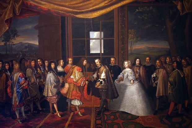 Louis XIV en 1659. « Entrevue de Louis XIV et Philippe IV d'Espagne» par Laumosnier (Musee de Tesse, Le Mans)
