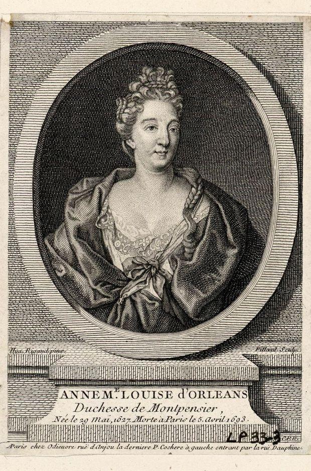 Gravure figurant Anne Marie Louise d'Orléans, duchesse de Montpensier, dite la Grande Mademoiselle