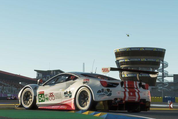 La Ferrari engagée au nom de la Fondation Princesse Charlène de Monaco lors des 24 Heures du Mans virtuelles, le 13 juin 2020