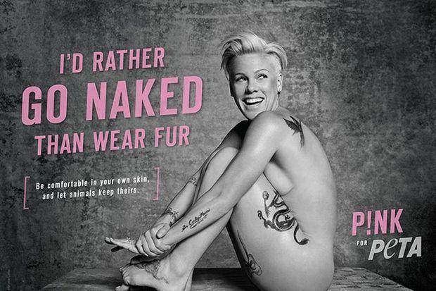 Pink se dénude pour la PETA