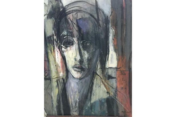 """""""Le songeur"""" (Huile sur toile 81x65 année 1999)"""