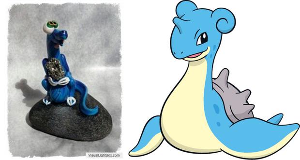 A gauche, le Nessie de Steve. A droite, le Pokémon Lokhlass