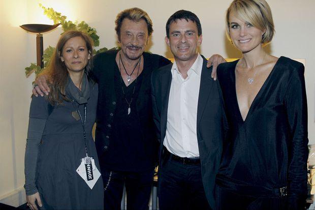 Anne Gravoin, Johnny Hallyday, Manuel Valls, Laeticia Hallyday, juin 2012.