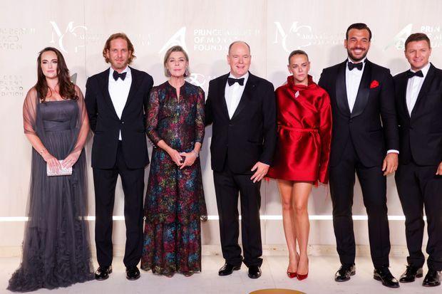 La princesse Caroline de Hanovre et le prince Albert II de Monaco encadrés d'Andrea Casiraghi et Pauline Ducruet à Monaco, le 23 septembre 2021