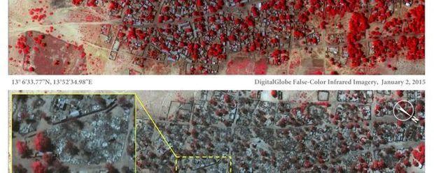 Image satellite du 2 et du 7 janvier montrant la ville de Baga avant et après l'attaque de Boko Haram.
