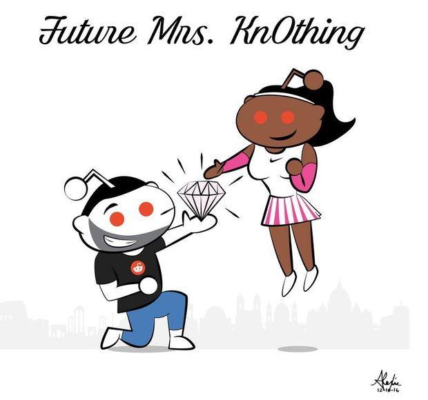 Dessin de Serena Williams partagé sur le site Reddit.