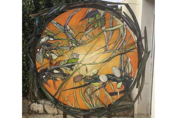 """""""Les hautes herbes"""" (composition sur toile diamètre 100 cm)"""