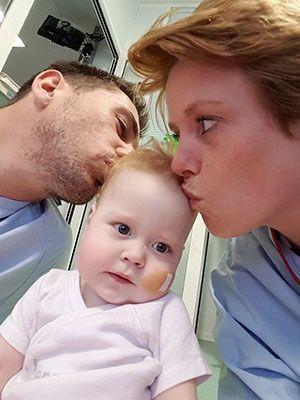 Savannah et ses parents, le 29 août.