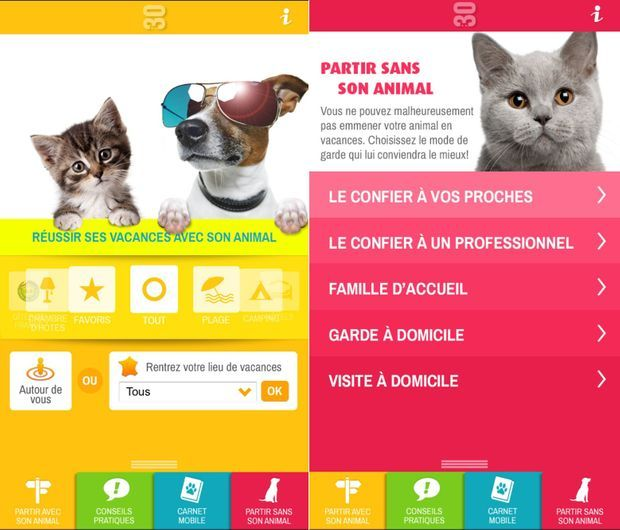 "L'application mobile ""Vacances"" de la Fondation 30 Millions d'Amis."
