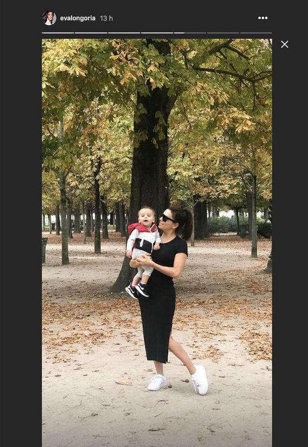 Eva Longoria à Paris avec son fils Santiago le 23 septembre 2019