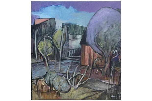 """""""La cabane rouge"""" (Huile sur toile 60x60)"""