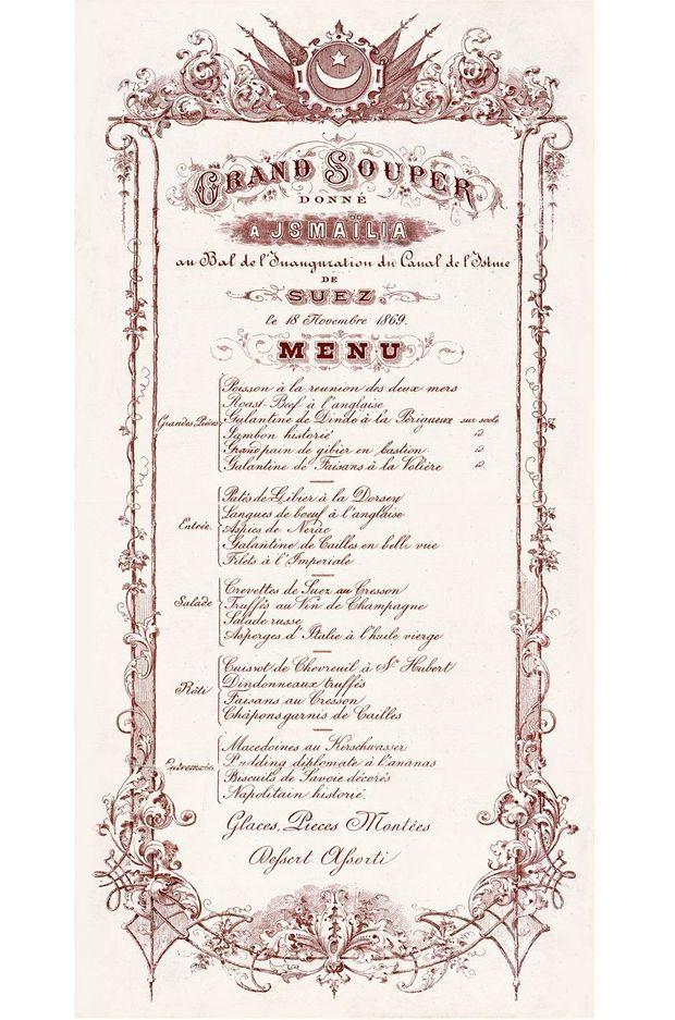 Menu du grand souper d'Ismaïlia du 18 novembre 1869
