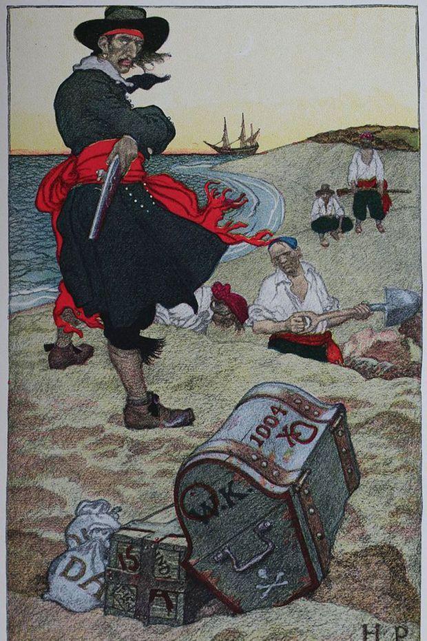 Une représentation du Capitaine Kidd peinte par Howard Pyle en 1921.