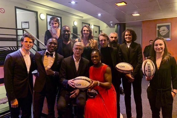 Les remettants de la Nuit du Rugby réunis dans les coulisses de l'Olympia le 25 novembre 2019