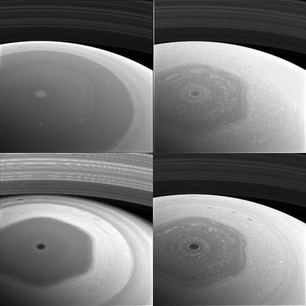 L'hexagone situé sur le pôle nord de Saturne