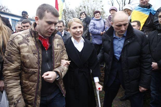 Ioulia Timochenko lors d'un déplacement le dimanche 13 avril 2014 à Melnyky, au centre de l'Ukraine, en marge d'une rencontre chez les cosaques pour sa campagne électorale.