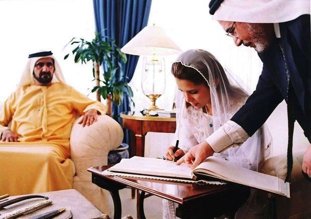 A Amman, le 10 avril 2004, la princesse de Jordanie épouse le futur émir de Dubaï (en jaune).