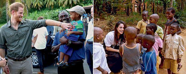 A g., le 26 novembre, lors d'un voyage officiel, Harry visite un centre de sauvegarde des tortues, à Saint-Vincent-et-les Grenadines. Neuf mois plus tôt, en février, Meghan était au Rwanda pour l'ONG World Vision dont elle est l'ambassadrice.