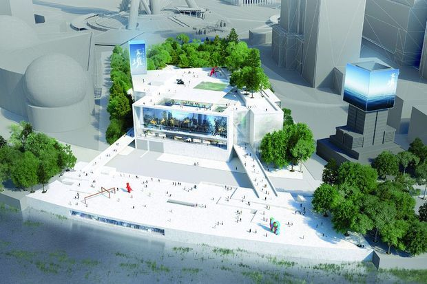 A Shanghai, dans un paysage arboré et bordé d'eau, le Pudong Art Museum construit en granit blanc. Il ouvrira d'ici un an et demi.