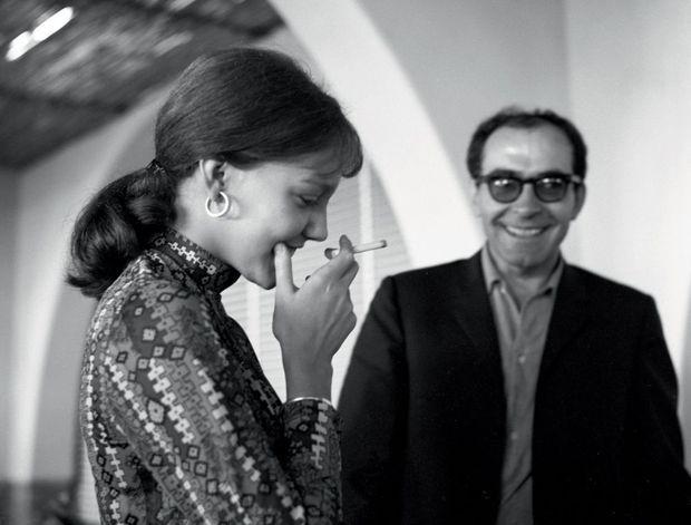 A venise en 1967, Jean-Luc Godard et Anne Wiazemsky.