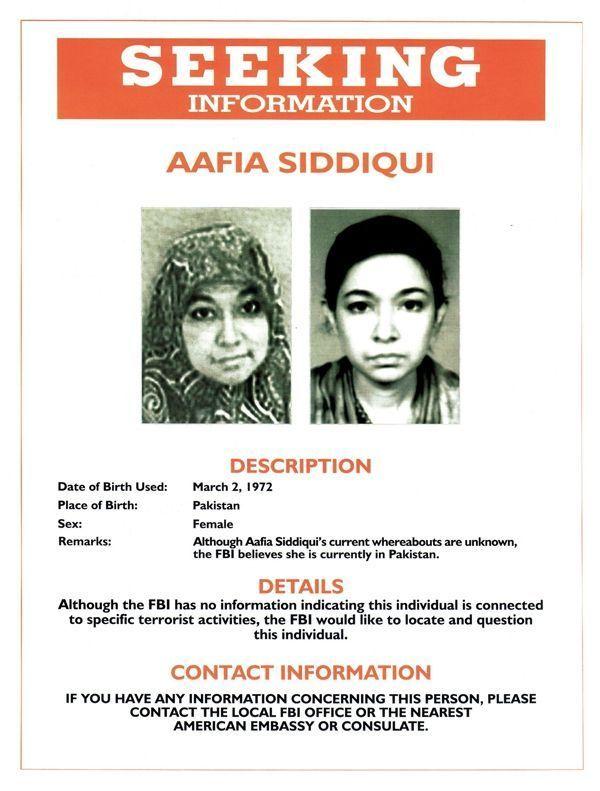 En 2004, dans le cadre de l'enquête sur le 11 septembre, le FBI diffuse cet appel à témoins pour obtenir des informations sur Aafia.