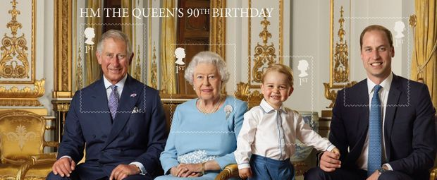 La planche de timbres de la reine Elizabeth II et de ses héritiers
