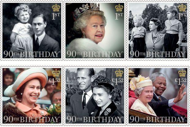 Les six autres timbres émis pour les 90 ans de la reine Elizabeth II