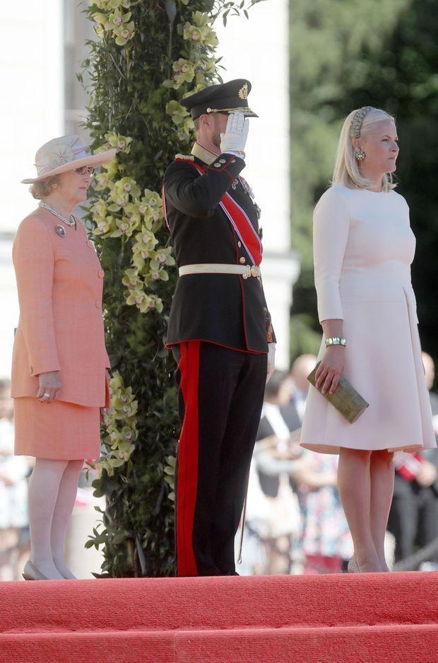La reine Sonja, le prince Haakon et la princesse Mette-Marit de Norvège à Oslo, le 4 juin 2018