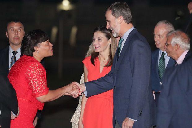 La reine Letizia et le roi Felipe VI d'Espagne avec la maire de la Nouvelle-Orléans Latoya Cantrell, le 14 juin 2018