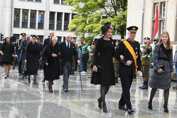 La famille royale de Belgique aux obsèques de l'ex-grand-duc Jean de Luxembourg à Luxembourg, le 4 mai 2019