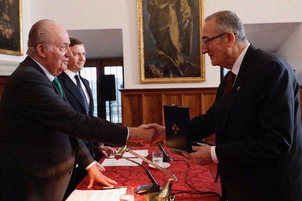 L'ex-roi Juan Carlos d'Espagne préside la cérémonie de remise du Prix des Ordres espagnols à Madrid, le 17 mai 2019