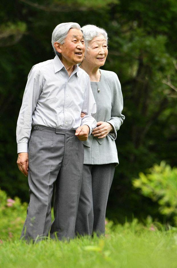 L'impératrice émérite Michiko et l'empereur émérite Akihito du Japon à Nasu, le 25 juillet 2019