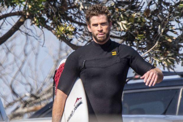 Liam Hemsworth à Byron Bay, en Australie, le 13 août 2019