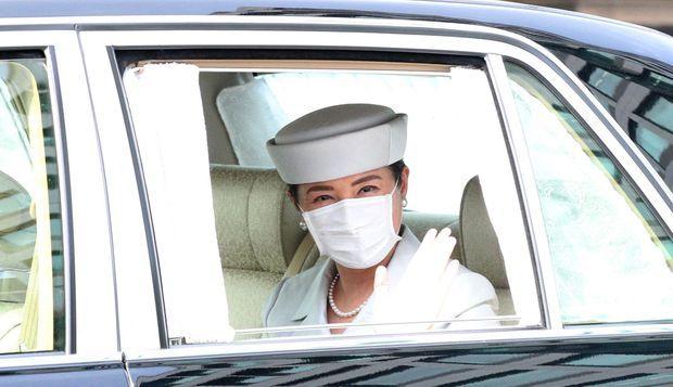 L'impératrice Masako du Japon à son arrivée au Palais impérial, à Tokyo le 16 juin 2020