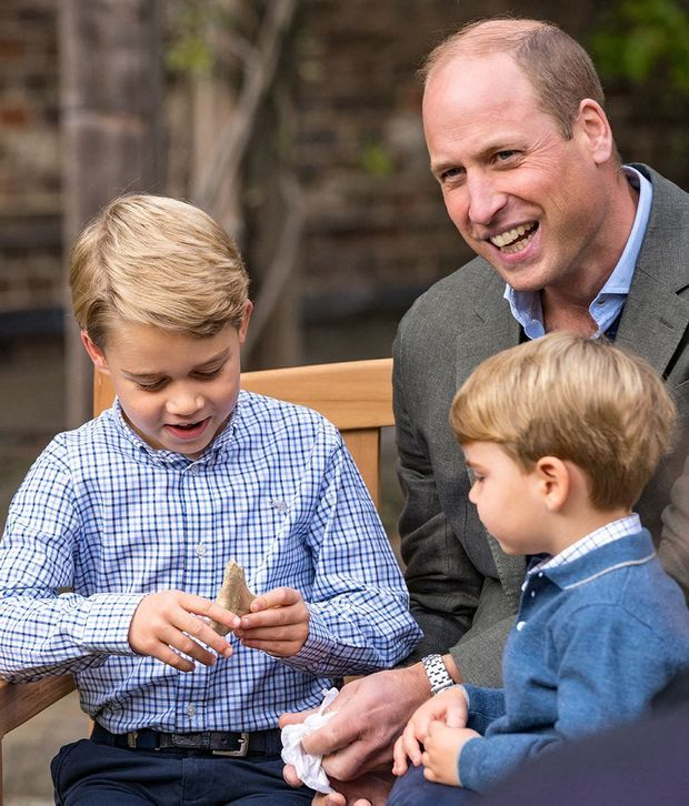 William de Cambridge avec ses fils les princes George et Louis, septembre 2020