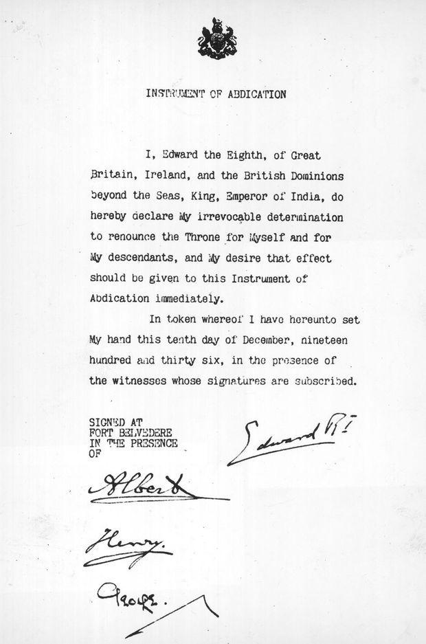 Acte d'abdication du roi Edward VIII, le 10 décembre 1936