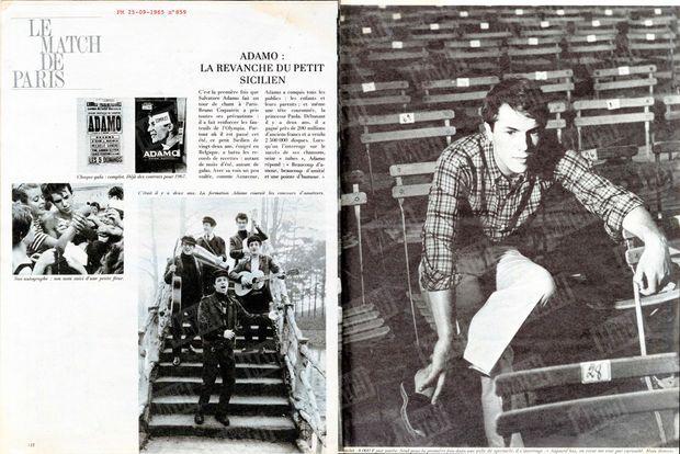 Salvatore Adamo, son premier rendez-vous dans Paris Match n°859, daté du 25 septembre 1965.