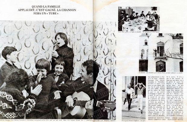"""« Quand la famille applaudit, c'est gagné. La chanson sera un """"tube"""". » - Paris Match n°859, 25 septembre 1965"""