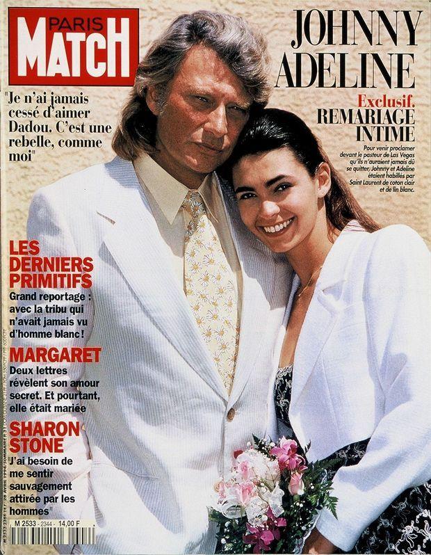 Un divorce, deux mariages! Secondes noces pour le couple terrible à la Little Church of the West, à Las Vegas, le 16 avril 1994, et couverture de Paris Match (n° 2344).