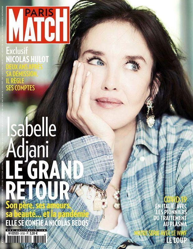 Isabelle Adjani en couverture de Paris Match n° 3722, daté du 3 septembre 2020.