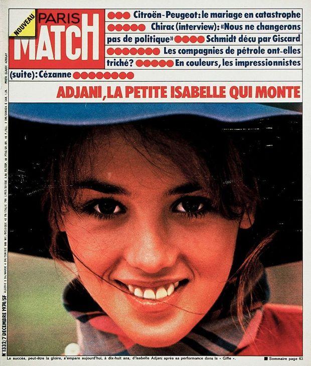 Isabelle Adjani, pour la première fois en couverture de Paris Match (n°1332, 7 décembre 1974)