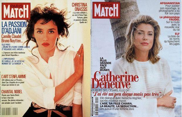 Adjani en couverture du numéro 2064 du 15 décembre 1988 et Catherine Deneuve à la une du numéro 2599 de Paris Match, du 18 mars 1999.